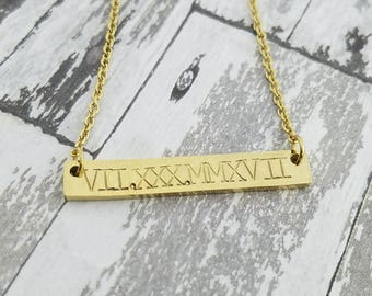 Custom Bar Necklace - Stainless Steel Bar Necklace - Personalized Jewelry - Name- Roman Numeral - Hand Stamped - Silver, Gold, or Rose Gold
