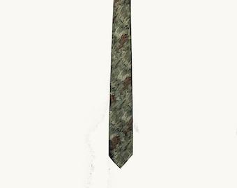 Vintage Tie, Skinny Tie, Narrow Tie, 1960's, Gray, Green, Orange, Brown