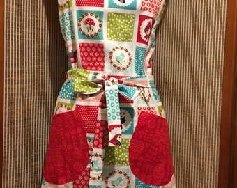 Ladies apron,full apron, red riding hood apron