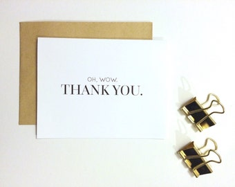 Thank You Card - Oh, Wow. Thank You. | Thank You Card, Appreciation Card, Thanks Card, Wedding Thank You Card