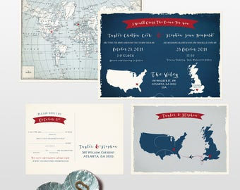 Destination wedding invitation UK England and USA Wedding Invitation in navy dark blue Fun Mab Libs Style RSVP bilingual - Deposit payment