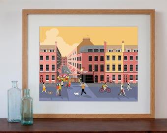 Brick Lane at Dusk, London Street Scene with Market Art Print