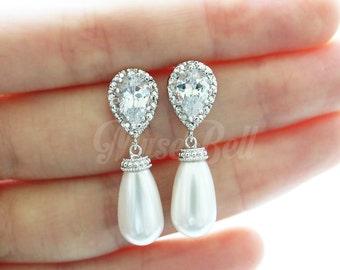 Swarovski white long tear pearl earrings, Wedding gift earrings, White bridal earrings, CZ stud earrings, Drop Earrings, Bridesmaid Gift,