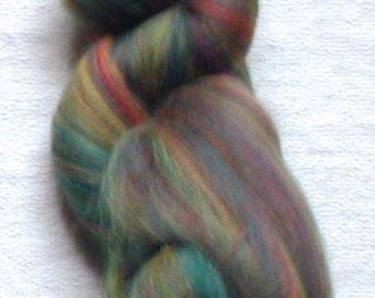 Merino Wool Roving, combed top, Laurel Multi Color Fiber for Spinning or Felting, commercially dyed.