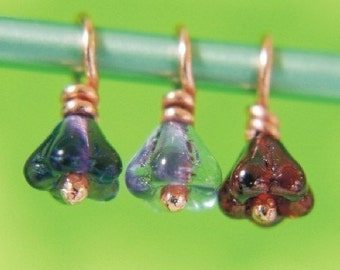 TINY TRIO - Copper Stitch Markers with Czech Glass - Perfect for Sock Knitters
