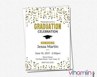 Black White & Gold Graduation Invitation - High School or College Grad Party Invitations - Printed or Printable | polka dots elegant cap