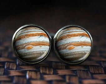 Jupiter cufflinks, Jupiter cuff links, Jupiter Jewelry, galaxy cufflinks, universe cufflinks, space cufflinks, planet cufflinks