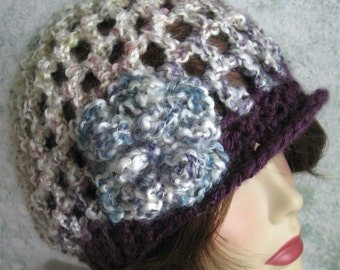 Womens Crochet Hat Pattern With Flower Trim Slouch Style With Contrasting Brim Easy To Make Instant Download