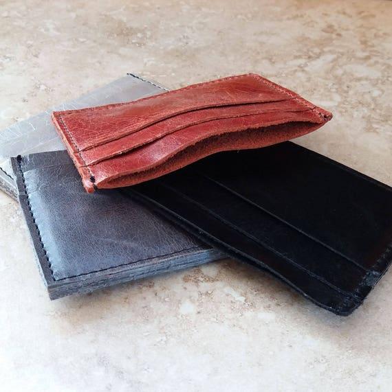 Men's Handmade Leather Card Holder - Business Card Wallet