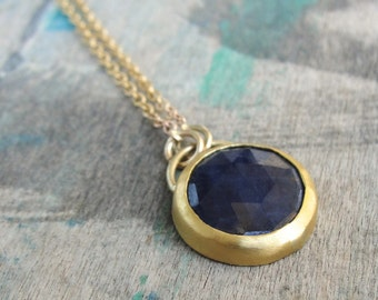 Sapphire Necklace, Blue Gold Necklace, Blue Sapphire Necklace, September Birthstone Jewelry, Sapphire Gold Necklace, Sapphire Jewelry