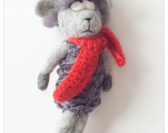 Stuffed sheep - beautiful poetic stuffed felted wool with a red scarf (farm animals collection)