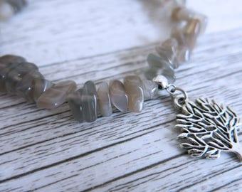 Grey Cats Eye Bracelet Grey Cats Eye Gemstone Bracelet Catseye Crystal Chip Choose Your Own Charm Bracelet