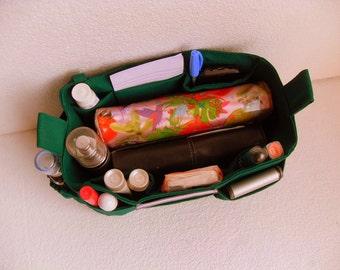 Bag organizer - Purse organizer insert in Green fabric