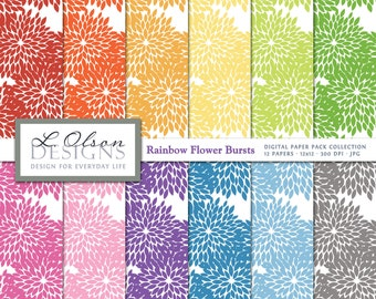Rainbow Flower Bursts Paper Pack - 12 digital paper patterns - INSTANT DOWNLOAD
