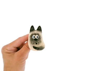 Stuffed animal jewelry, Needle felted cat brooch, Siamese  kitten, Black and white cat, Animal pin, Gift for cat lovers, Birthday gift idea