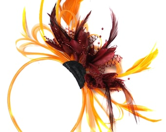 Orange & Burgundy Fascinator on Headband AliceBand UK Wedding Ascot Races Loop
