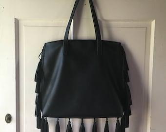 Black Leather FRINGE Purse || Tribal design inside.