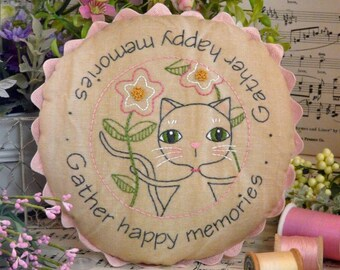 Gather happy memories cat embroidery Pattern PDF - stitchery kitty table mat pillow bed flowers