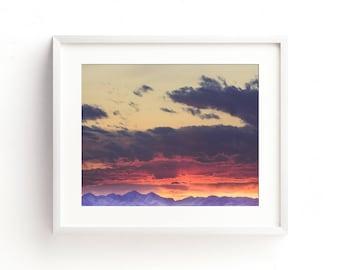 "landscape photography, landscape prints, large art, large wall art, mountain art, mountain prints, landscape art - ""Crazy Mountain Sunset"""