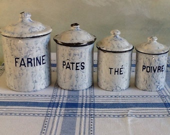French Vintage. Enamelware. Canisters. Blue and White. Shabby Chic. French Vintage Canister Set. Enamel Storage Pots. French Country.