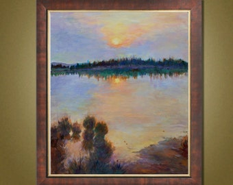 Landscape Oil Painting, Sunset Painting, Impressionism Oil Painting Handmade, Canvas Art