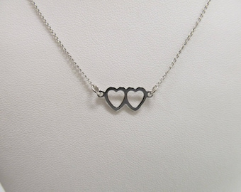 Vintage Sterling Silver Double Heart Necklace W #225