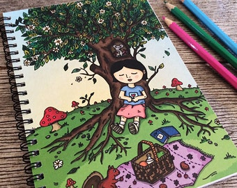 Picnic Slumber Notebook Sketchbook - 50 bound pages recycled paper, for sketch, writing, school
