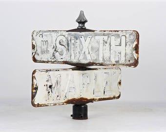 Vintage Street Sign, Vintage Double Street Sign, Corner Street Sign, Old Street Signs, Street Sign, Old Metal Street Sign, Industrial Decor