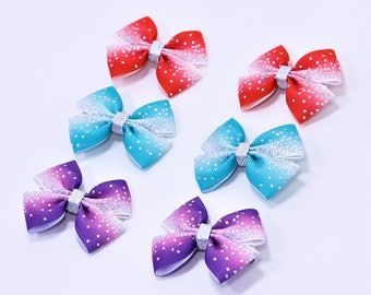 Small Hair Bow Set Baby Girl Bow Set Toddler Bow Set Pigtail Hair Bows Turquoise Hair Clips Baby Shower Gift Baby First Hair Bows