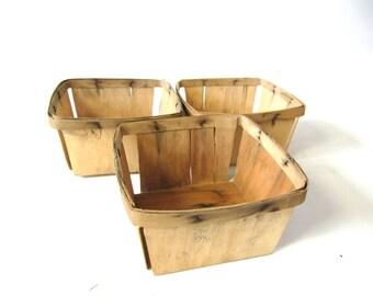 Wood Berry Baskets, Split wood, Vintage