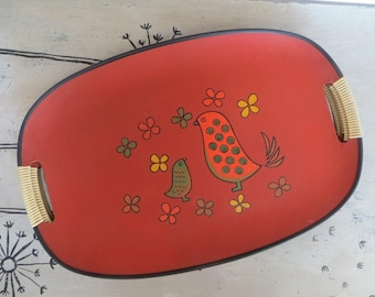Set of 5 Vintage Serving Trays Orange Trays with Birds Kitschy Tray Serving Platter