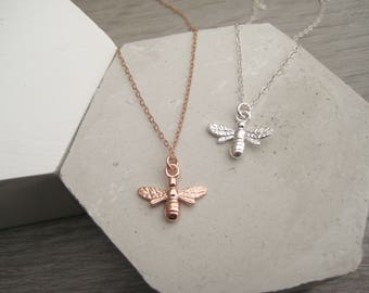 Honey bee necklace, sterling silver bee necklace, rose gold vermeil bee necklace, bumble bee pendant, christmas necklace gift,