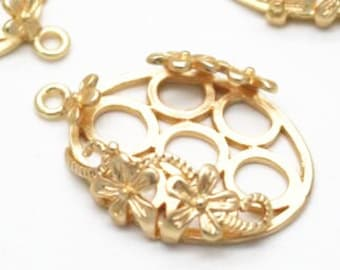 2 pcs of brass floral mounting setting for 18x25mm cameo -7661-matte gold