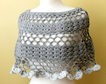 Gray Crocheted Poncho Capelet. Shell. Scallop. Cowl. Shawl. Grey.
