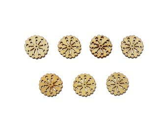 Set of 7 wood - round flower embellishments