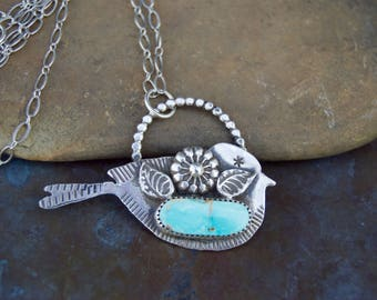 Kingman Turquoise Sterling Silver Necklace . Flowers .Bird. Hand Forged . Sterling Necklace.Rustic. Necklace