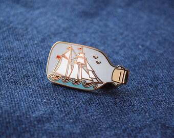 Ship in a Bottle Enamel Pin