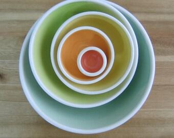 Rainbow Pottery Nesting Bowls, Anniversary Gift, Large Ceramic Stoneware Serving Set, Wedding Gift, Wheel Thrown, Foodie Gift