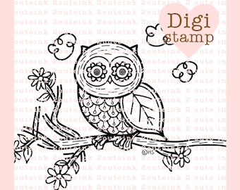 Nature Owl Doodle Digital Stamp for Card Making, Paper Crafts, Scrapbooking, Stickers, Coloring Pages