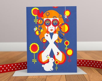 Through Rose Tinted Spectacles - Retro Greeting Card - Rabbit Card - Animal Card - Autumn Card - Flower Card