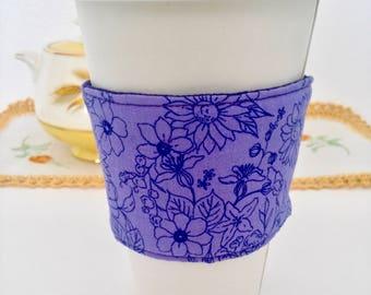 Coffee Cozy, Coffee sleeve, Coffee Cup Cozy, Floral Coffee Cozy, Purple Coffee Cup Cozies, Fabric Coffee Cozy, Purple Floral Coffee Cozy,