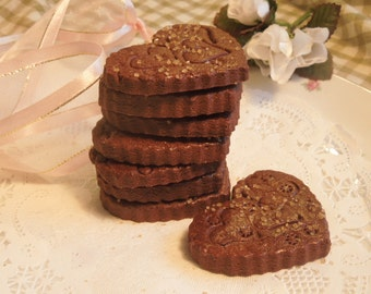 Cocoa-Ginger Hearts, Perfect Wedding Favors, 2 dozen, Gift for Her, Chocolate Gingerbread-Birthdays, Mother's Day, Someone Special