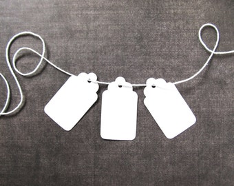 30 Small White Tags, Gift Tags, Party Favor Tags, Scalloped, Price Tags, Mini Tags, Weddings, Showers
