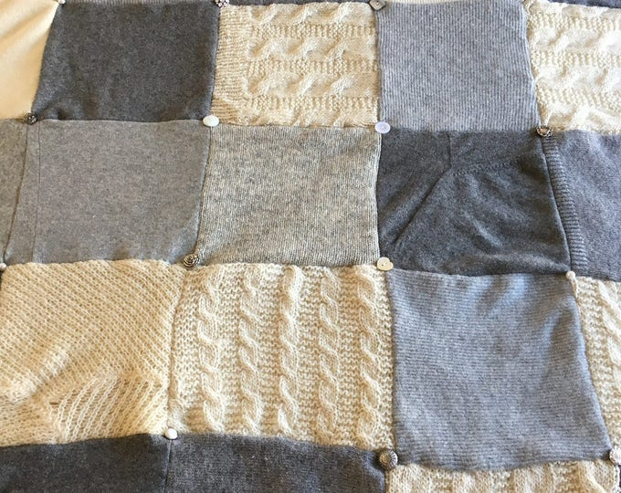 """My """"Opulent Gray"""" Wool Sweater Quilt — I can make one similar for you!"""