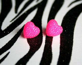 Hot Pink Heart Earrings, Neon Resin Studs, Kawaii Glitter Jewelry