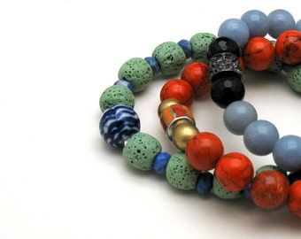 Mint Green Blue Minimalist Geometric  Beaded  Stretch Bracelet,   Partner Bracelet, Gift for Girlfriend Under 60 Mothers Day