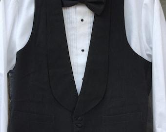 Kennedy's Black Men's Formal Vest 1920's Grosgrain Fabric