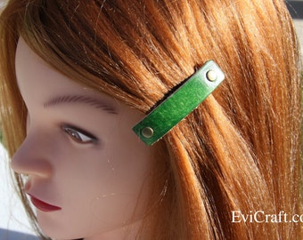 Green Leather French hair barrette, Handmade Leather Hair Clip, women Hair Accessory, hair fashion, leather accessory, juicy