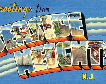 Greetings from Seaside Heights, NJ - 10x16 Giclée Canvas Print of Vintage Postcard