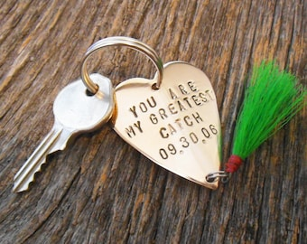 Fly Fishing Keychain Personalized Fishing Lure Key chain for Husband Wedding Day Gift for Newlyweds Engagement Bride and Groom Great Catch
